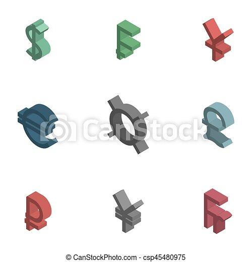 Symbols Of World Currencies Isometric Vector Illustration Symbols