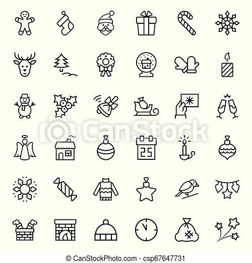 symbols., set, kerstmis, vector, dune lijn, style., pictogram - csp67647731