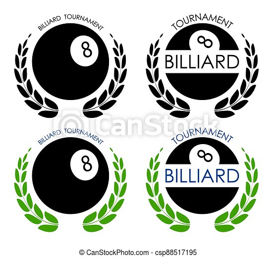 symbols sport ball for billiard on white background with winner laurel wreath. Pool and snooker competition. Isolated vector - csp88517195