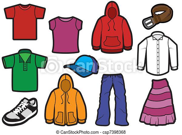 symbool, kleding, stoutmoedig, set. - csp7398368