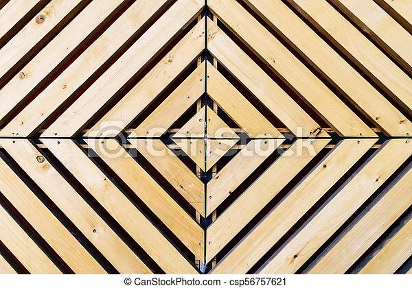 Symmetrical diamond background pattern with wood - csp56757621