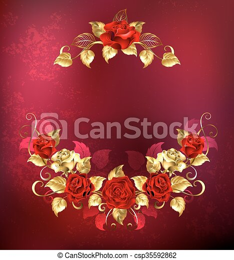 Symmetrical Garland Of Gold And Red Roses Jewelry Passionate On A Textured Canstock