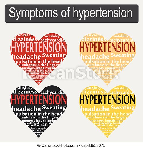 Symptoms of hypertension in the form of heart text.