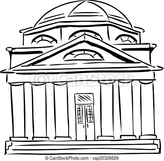 Synagogue With Domed Roof Outlined Synagogue Sketch With Curved