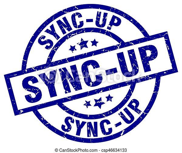 sync-up blue round grunge stamp - csp46634133