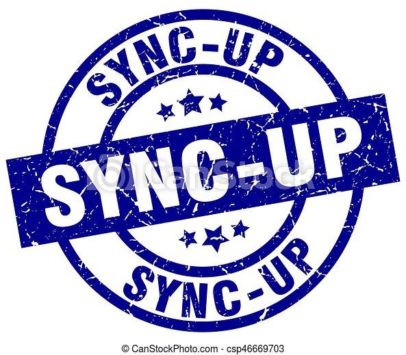 sync-up blue round grunge stamp - csp46669703