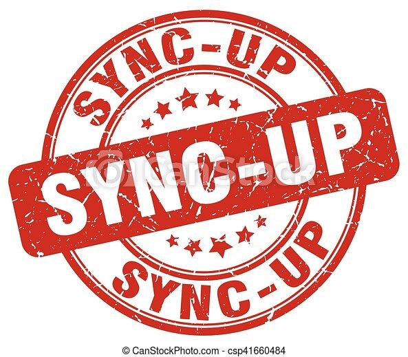 sync-up red grunge stamp - csp41660484