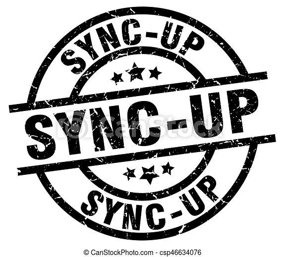 sync-up round grunge black stamp - csp46634076
