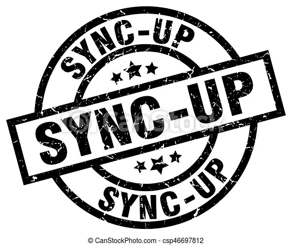 sync-up round grunge black stamp - csp46697812