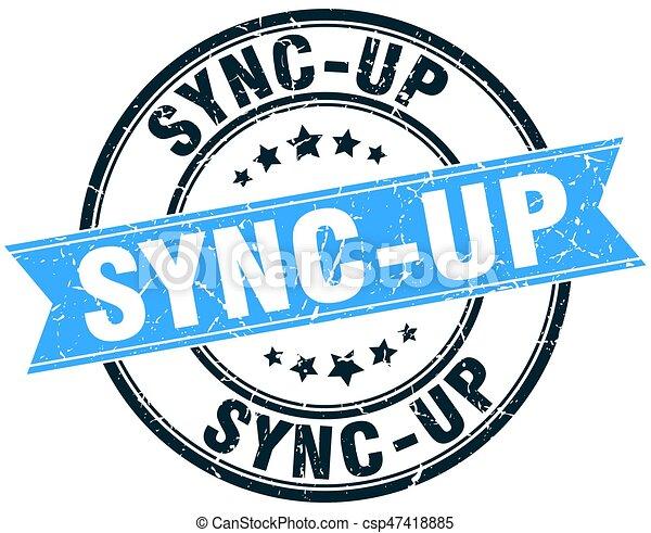 sync-up round grunge ribbon stamp - csp47418885