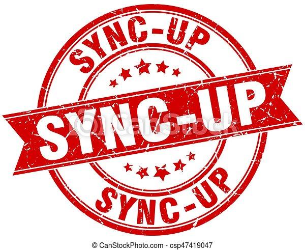 sync-up round grunge ribbon stamp - csp47419047
