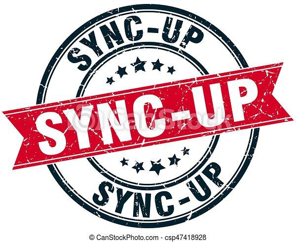 sync-up round grunge ribbon stamp - csp47418928