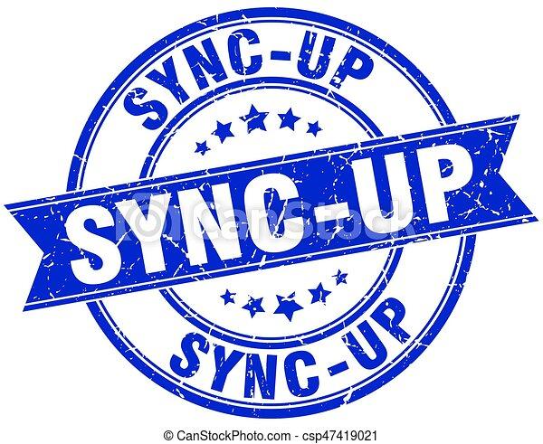 sync-up round grunge ribbon stamp - csp47419021