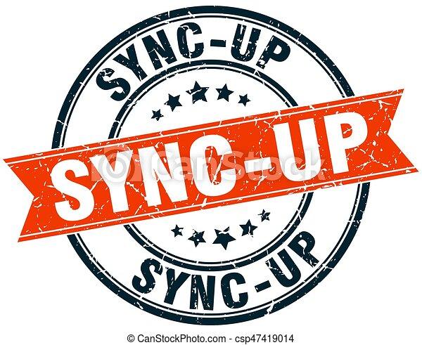 sync-up round grunge ribbon stamp - csp47419014