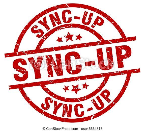 sync-up round red grunge stamp - csp46664318