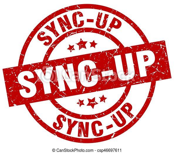 sync-up round red grunge stamp - csp46697611