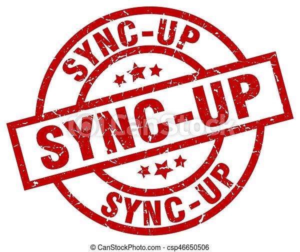sync-up round red grunge stamp - csp46650506