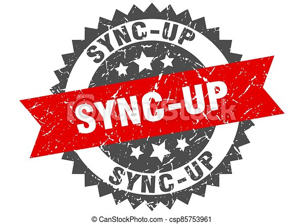 sync-up stamp. grunge round sign with ribbon - csp85753961