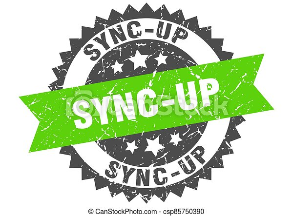 sync-up stamp. grunge round sign with ribbon - csp85750390