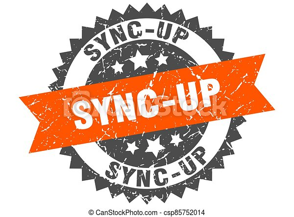 sync-up stamp. grunge round sign with ribbon - csp85752014