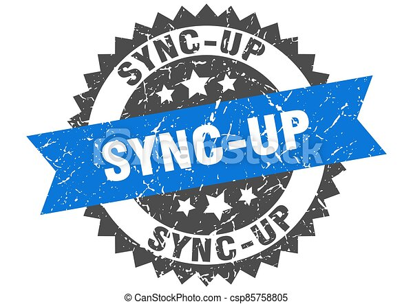 sync-up stamp. grunge round sign with ribbon - csp85758805