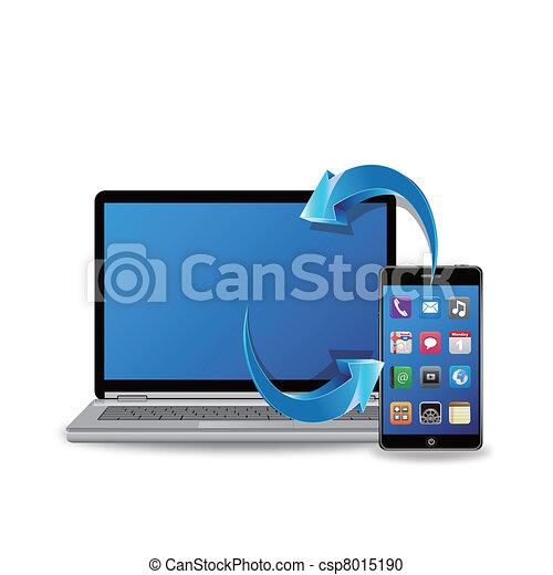 synchroniser, ordinateur portable, intelligent, téléphone - csp8015190