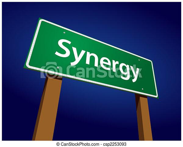 synergy, groene, straat, illustratie, meldingsbord - csp2253093