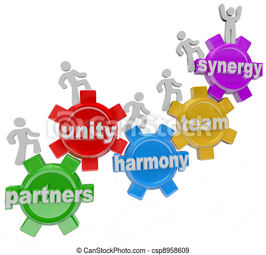 Synergy Partners Working Together in Teamwork for Success - csp8958609