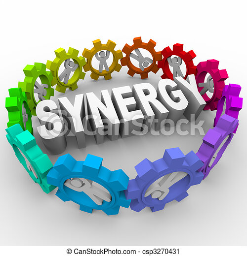 Synergy - People in Gears Around Word - csp3270431
