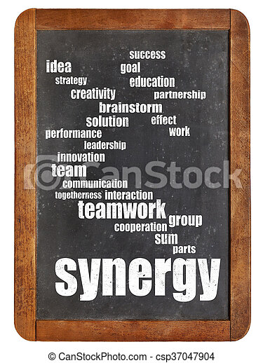 synergy word cloud on blackboard - csp37047904
