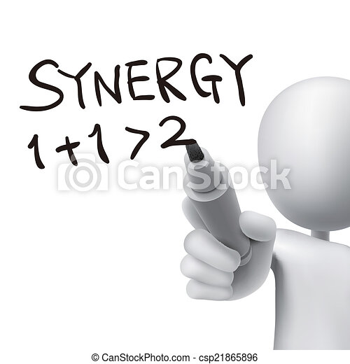 synergy word written by 3d man - csp21865896