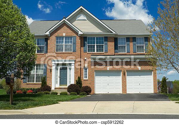 synhåll, förorts-, främre del, ensam släkt, md, hem, tegelsten - csp5912262