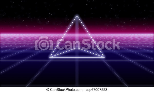 synthwave pyramid on a Retro Background 3d render