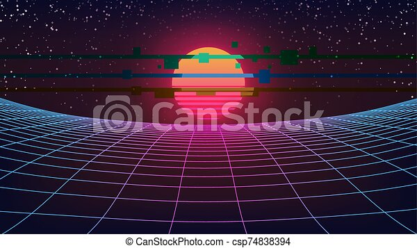 Synthwave Retro Future Background Curved Perspective Grid Starry Sky Virtual Sunset Scene Big Glowing 80s Sun With