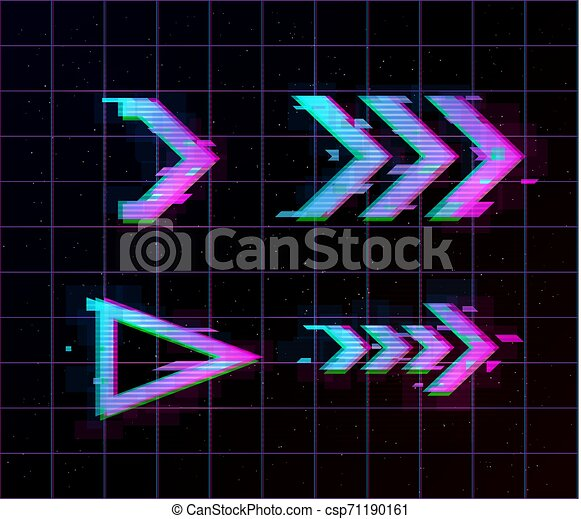 Synthwave Vaporwave Retrowave Glitch Arrows Pointers Direction Set Glitch Design Elements For Poster Flyer Cover Web