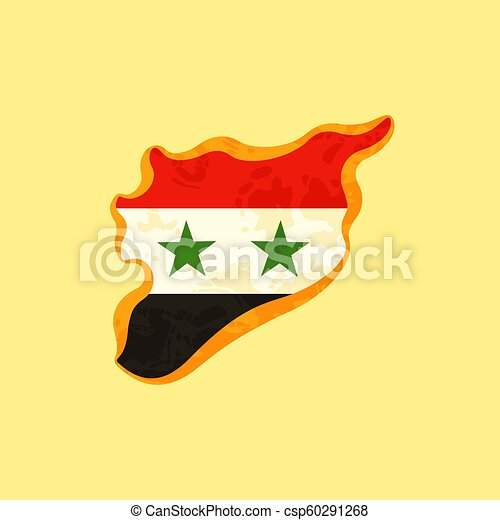 Syria - Map colored with Syrian flag - csp60291268