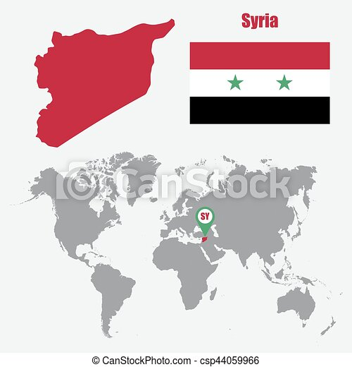 Syria map on a world map with flag and map pointer. vector illustration.