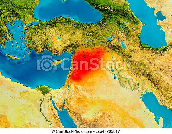 Syria on physical map - csp47205817