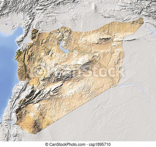 Syria shaded relief map Syria shaded relief map stock