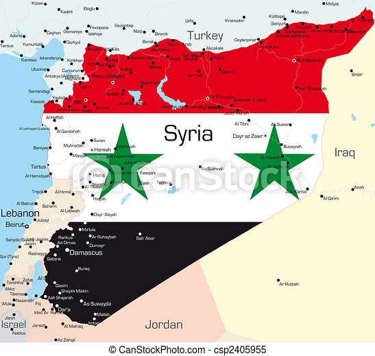 syrien karta Abstract color map of syria country colored by national flag . syrien karta
