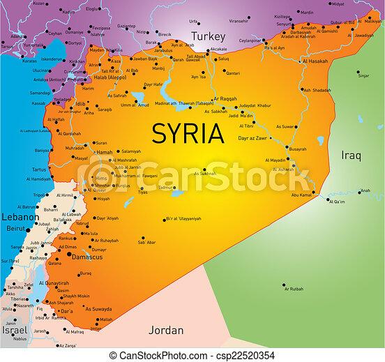 karta syrien Syrien, karta. Färg kartlagt, vektor, syrien. karta syrien