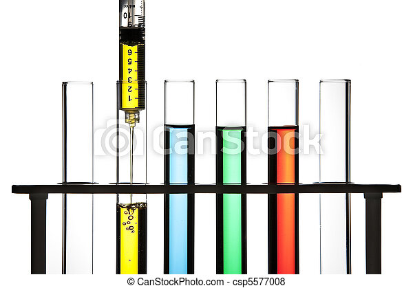 Syringe and test tubes - csp5577008