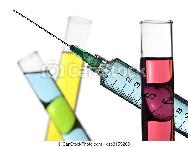 Syringe and test tubes - csp3155260