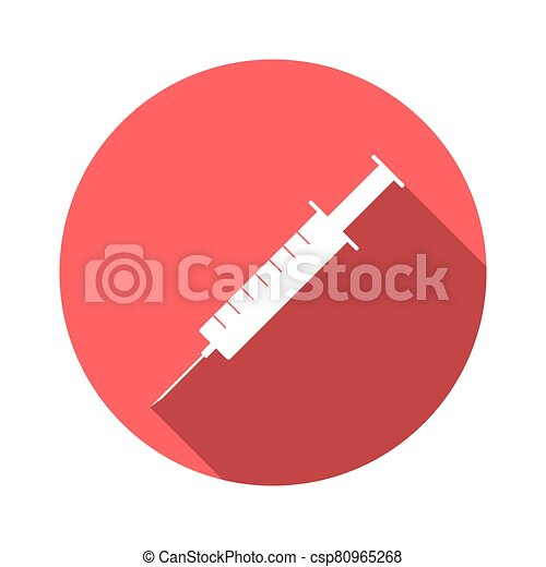 Syringe icon with long shadow. Red button on a white background. Vector illustration - csp80965268