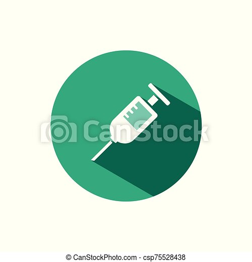 Syringe icon with shadow on a green circle. Vector pharmacy illustration - csp75528438