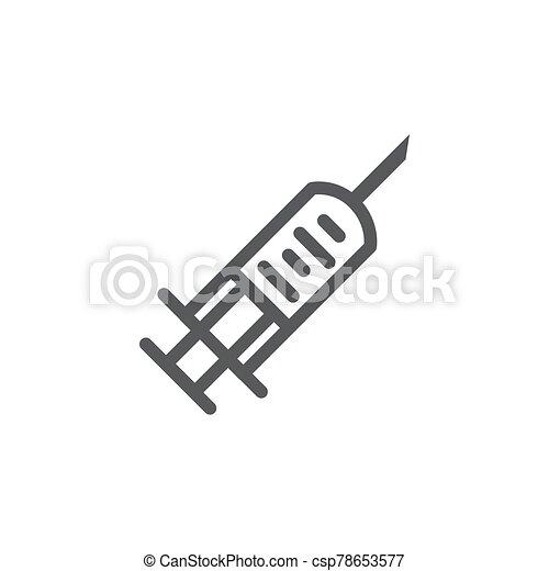Syringe line icon on white background - csp78653577