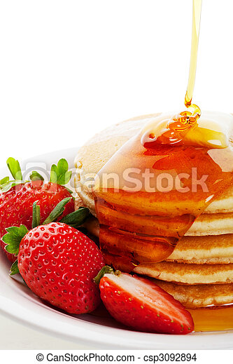 Syrup Pouring on Pancakes - csp3092894