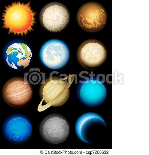 système, solaire, icônes - csp7266632