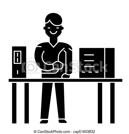 system administrator icon, vector illustration, black sign on isolated background - csp51603832