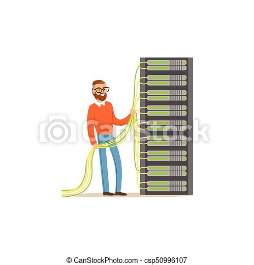 System administrator, server admin working with hardware equipment of data center, server maintenance support vector illustration - csp50996107